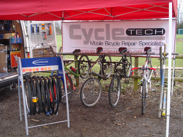Bicycles line up for service and repair