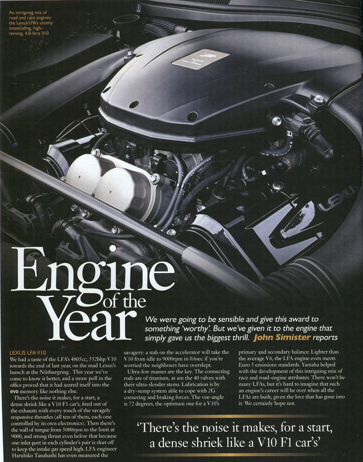 small resolution of lfa s v10 engine wins best engine of the year award by evo uk