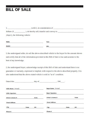 bill of sale forms for vehicles - Josemulinohouse