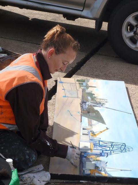 plein air painting  of ex-HMAS Adelaide at Glebe Island wharf by artist Jane Bennett