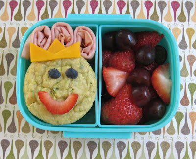 BentoLunch.net - Easy to Make Princess Bento with zucchini parmesan muffins, ham and fruits