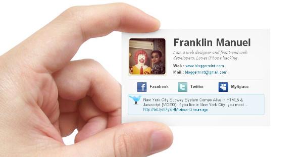 Online Business Card Blogspot Template