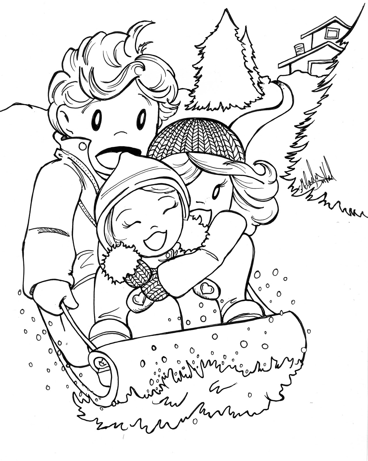 winter activities coloring pages | Everybody Illustrated: January Colors