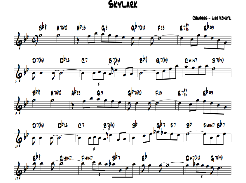 All Music Chords skylark sheet music : Casa Valdez Studios: Konitz's Skylark reharm