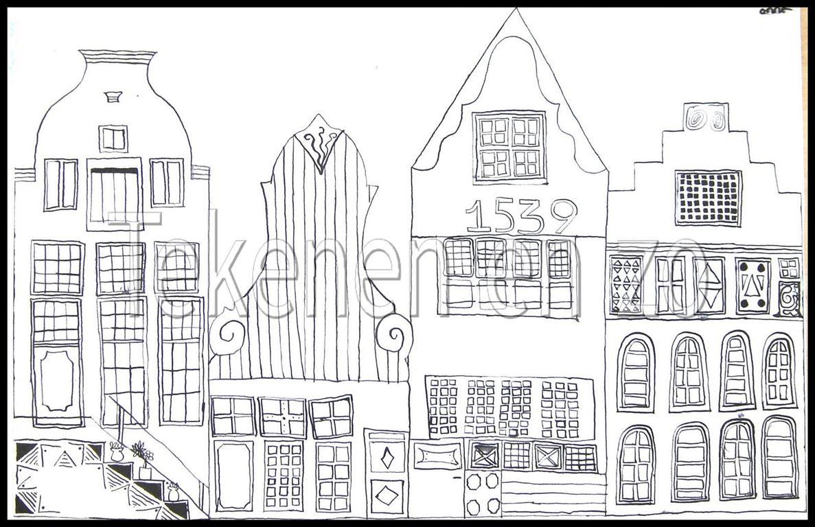 Tekenen en zo grachtengordel for Huizen tekenen