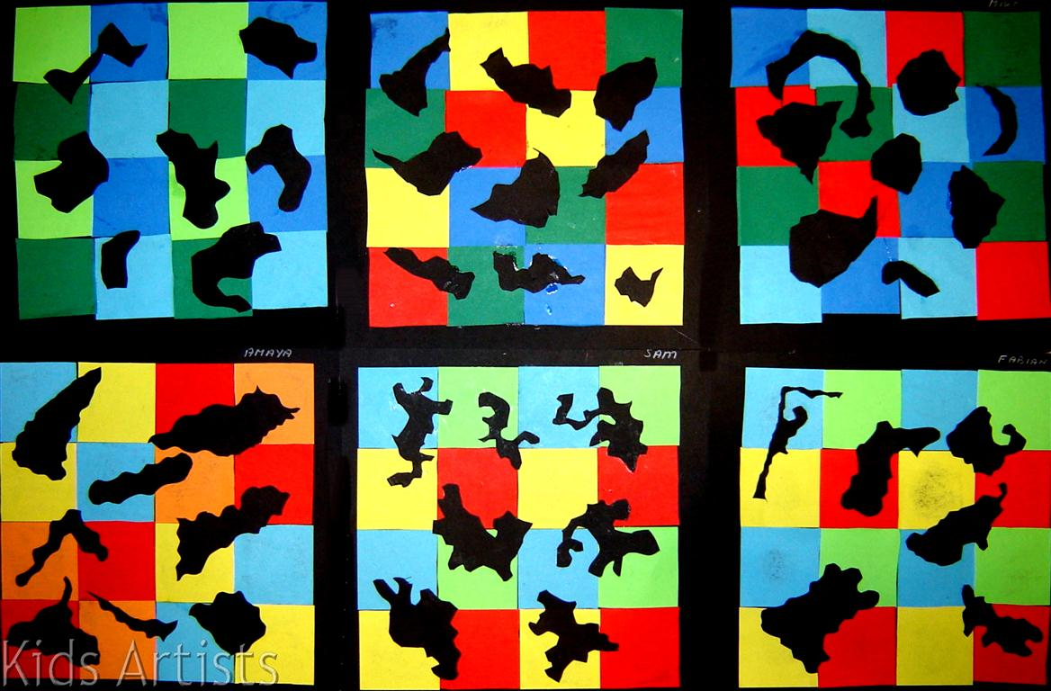 Kids Artists Collage Of Geometric And Organic Shapes