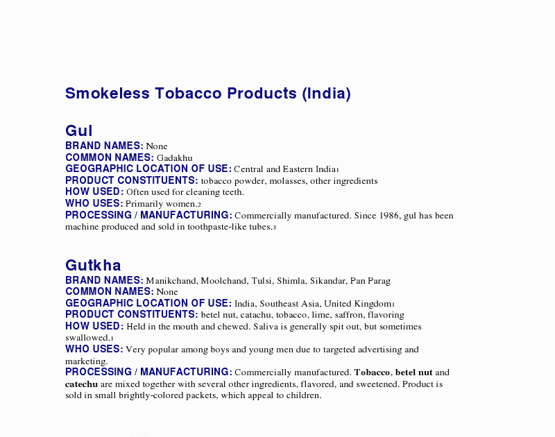 Otolaryngology Update: Smokeless Tobacco Products in India