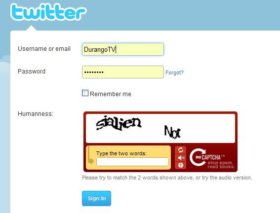 Durango Texas: My Twitter Username And Password Are Not
