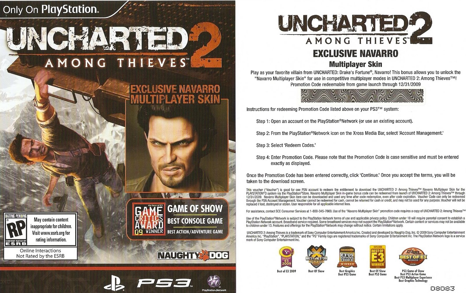"Uncharted 2 Navarro Multiplayer Skin Codes – ""First come, First"