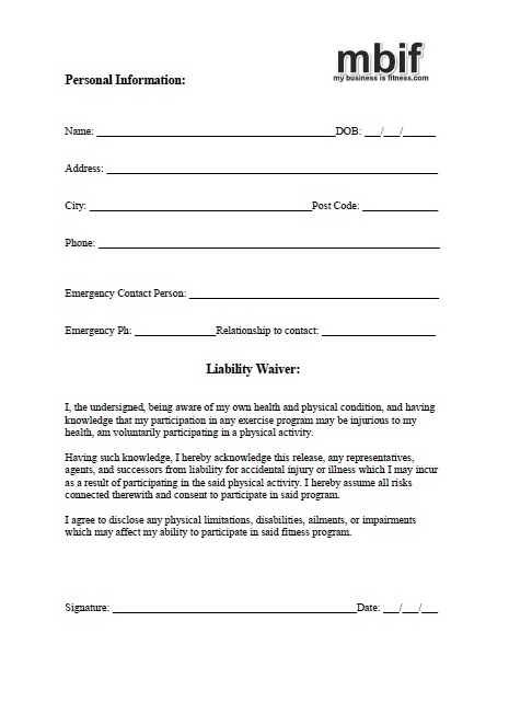 fitness waiver and release form template - take over payments take over payment take over car html