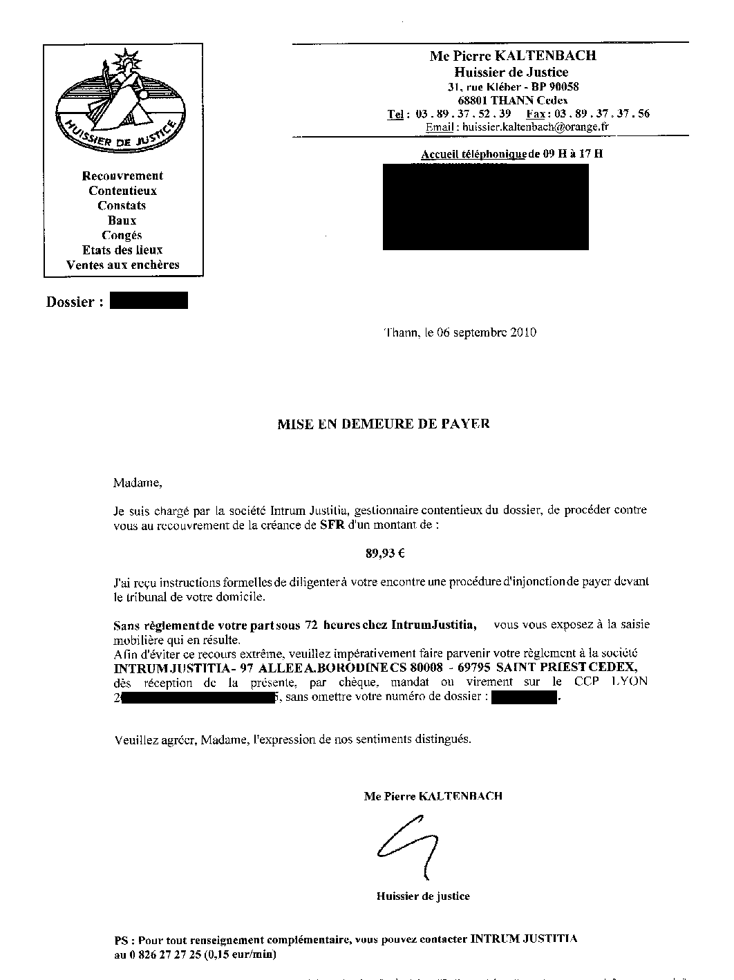 lettre huissier de justice Résistance: Et un célèbre Huissier de Justice envoie une mise en  lettre huissier de justice