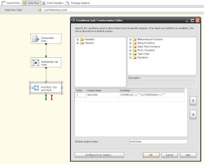 sql solace ssis data flow conditional split examples