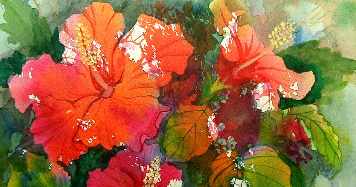 Watercolor in the Village: Hibiscus Painting for Card