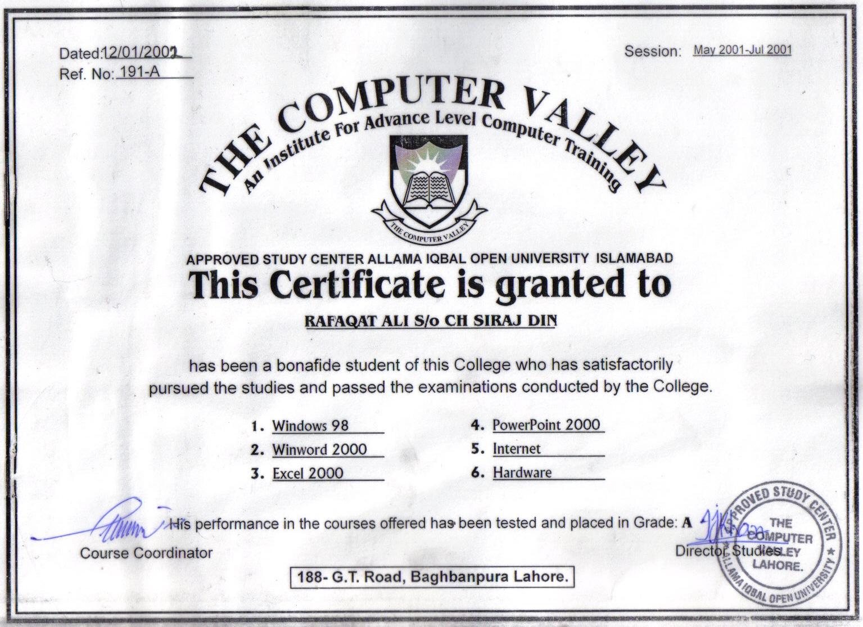 Basic certificate fieldstation alramifo Gallery