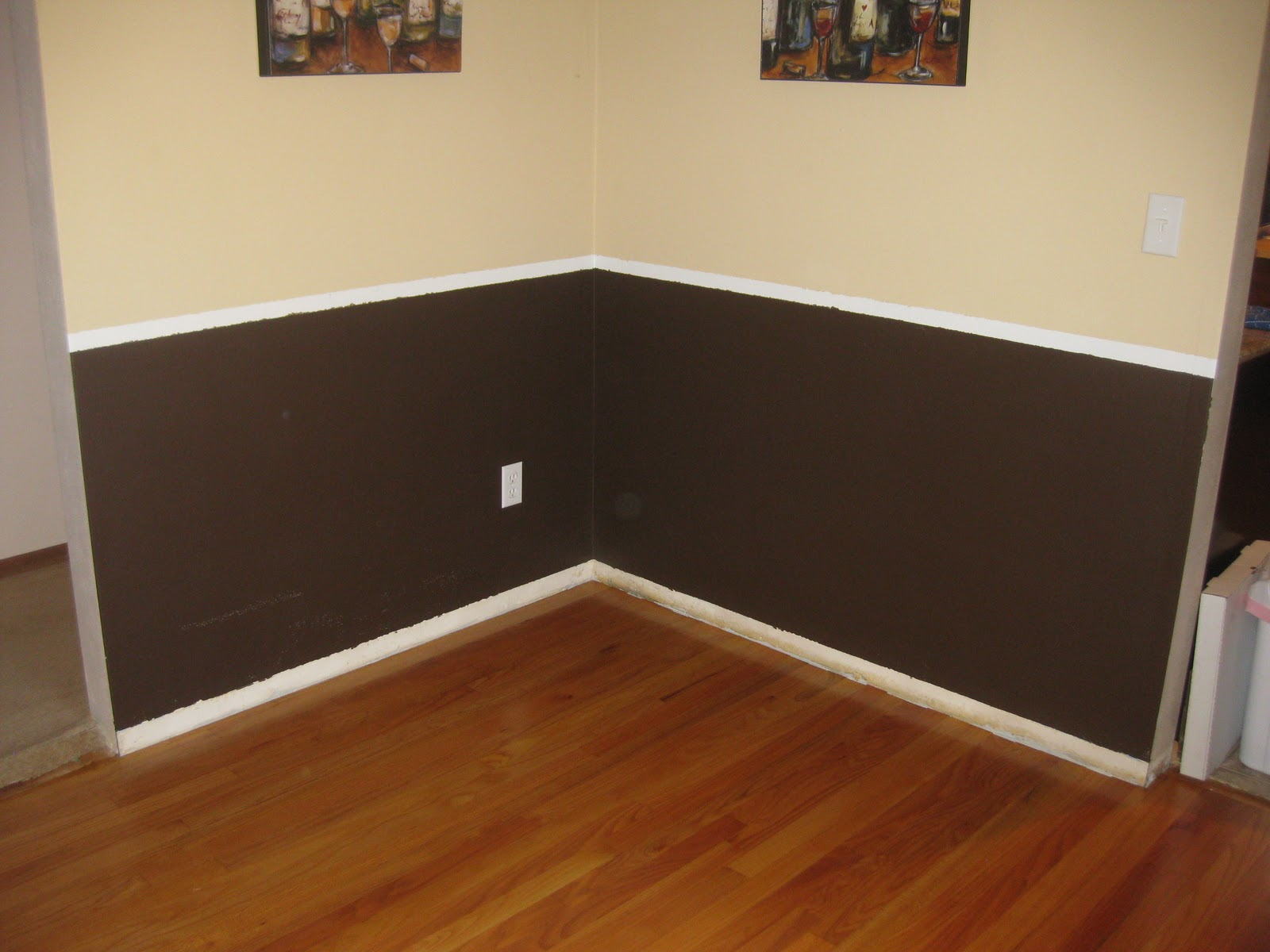 Two Tone Walls With Chair Rail New And Improving Chair Rail And Floor Trim In The