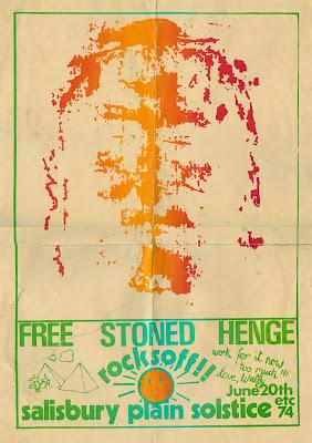 Poster anunciatorio de la primera edición del festival de Stonehenge en 1974 en el que actuó Zorch