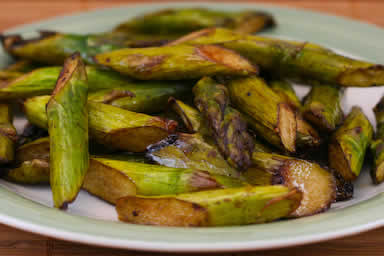 Slow Roasted Asparagus (low-carb, gluten-free, Paleo, Whole 30) found on KalynsKitchen.com