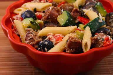 Original Photo Pasta Salad with Italian Sausage, Zucchini, Red Pepper, and Olives found on KalynsKitchen.com