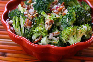 Original photo Sweet and Sour Broccoli Salad found on KalynsKitchen.com