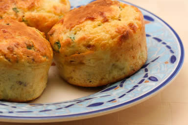 Original Photo Cottage Cheese  and Egg Breakfast Muffins Recipe with Bacon and Green Onions found on KalynsKitchen.com.