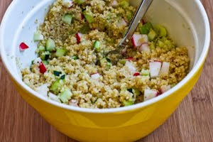 Quinoa Salad with Avocado, Radishes, Cucumbers, and Cumin-Lime Vinaigrette found on KalynsKitchen.com