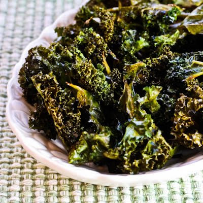 Roasted Kale Chips with Sea Salt and Vinegar found on KalynsKitchen.com