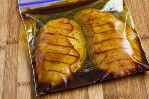 Marinated and Baked Forbidden City Chicken found on KalynsKitchen.com