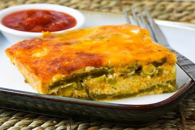Chile Rellenos Bake (Low-Carb, Gluten-Free, Vegetarian) found on KalynsKitchen.com