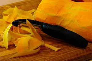 How to Peel and Cut Up a Butternut Squash from KalynsKitchen.com.