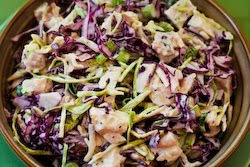 Low-Carb Chicken and Shredded Cabbage Salad Recipe with Mustard and Celery Seed found on KalynsKitchen.com