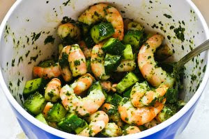 Spicy Shrimp and Cucumber Salad with Mint, Lemon, and Cumin found on KalynsKitchen.com
