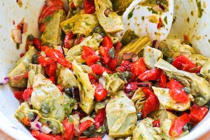 Warm or Cold Salad with Artichoke Hearts, Roasted Red Pepper, Capers ...