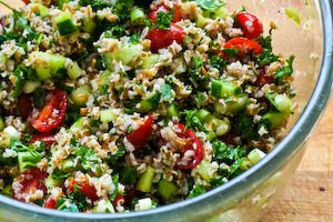 Bulgar Salad with Tomatoes, Cucumbers, Parsley, Mint, and Lemon found on KalynsKitchen.com