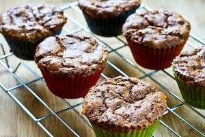 baked muffins for Low-Sugar and Flourless Zucchini Muffins with Pecans (Gluten-Free) found on KalynsKitchen.com