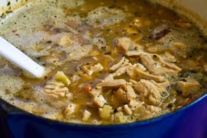 Leftover Turkey (or Ground Turkey) and Pinto Bean White Chili with Lime found on KalynsKitchen.com