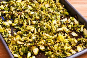 Shredded and Roasted Brussels Sprouts with Toasted Almonds and Parmesan (Low-Carb, Gluten-Free) found on KalynsKitchen.com