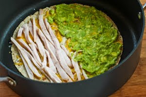 Turkey and Guacamole Quesadilla  (to make from leftover Thanksgiving turkey or chicken) found on KalynsKitchen.com