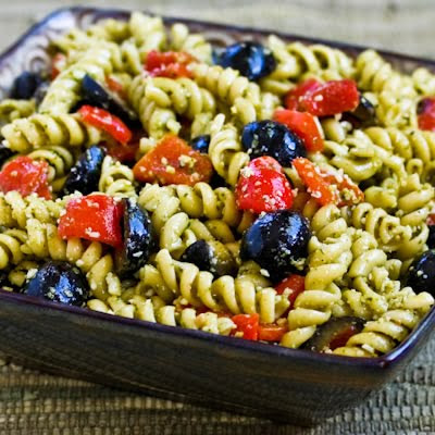 Easy Pesto Pasta Salad with Olives and Roasted Red Peppers found on KalynsKitchen.com