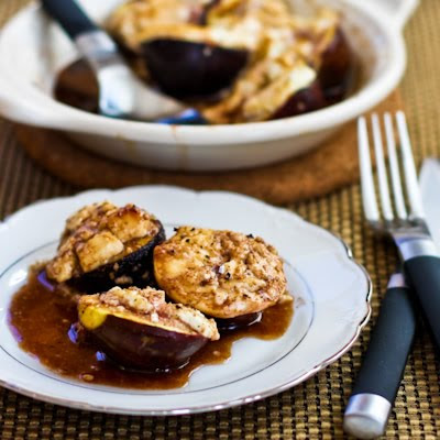 Roasted Figs with Goat Cheese and Balsamic-Agave Glaze found on KalynsKitchen.com