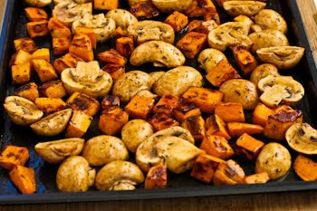 Roasted Sweet Potatoes and Mushrooms with Thyme and Parsley [found on KalynsKitchen.com]