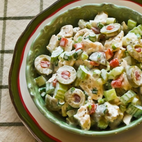 Kalyn S Kitchen 174 Shredded Chicken Salad With Green Olives Celery And Green Onion