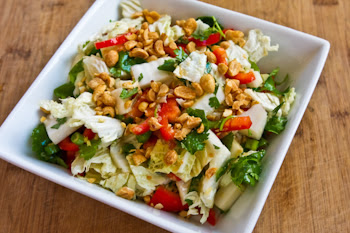 Napa Cabbage Salad with Red Bell Pepper, Cilantro, Peanuts, and Ginger-Dijon Dressing found on KalynsKitchen.com