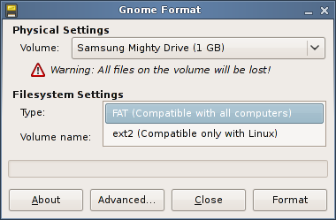 How to format a USB or removable hard drive on Ubuntu?