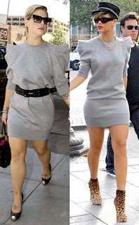 231ac6c84f8 Kelly Osbourne and Rihanna were both spotted wearing this grey Marc Jacobs sweater  dress. Kelly glammed hers up with a black belt and black peep toe shoes