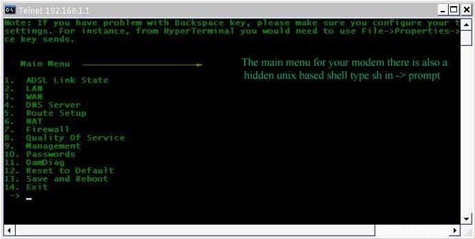 Using Telnet for configuring modem/router and securing your router