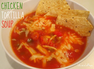 Chicken Tortilla Soup is a delicious, flavorful soup filled with chicken, tomato, cheese and diced green chilies. Life-in-the-Lofthouse.com