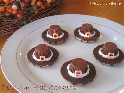 Pilgrim Hat Cookies are cute and delicious cookies in the shape of pilgrim hats that are made from fudge striped cookies, miniature peanut butter cups, vanilla frosting and orange food coloring. Life-in-the-Lofthouse.com