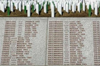 Names of victims of the 1995 Serb massacre of 8,000 Muslims in the former U.N. 'safe area' Srebrenica are seen in front of their graves at a cemetery in Potocari February 24, 2007.