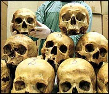 Srebrenica Massacre Skulls - Genocide of over 8,300 Bosniaks, July 11, 1995.