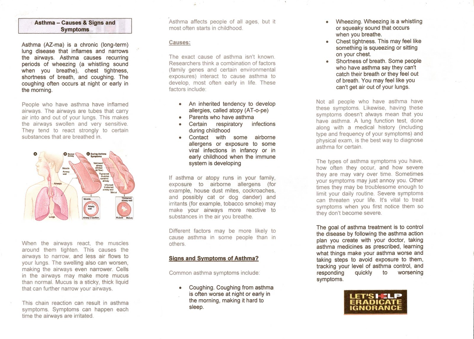 Free educational pamphlets for Asthma brochure template